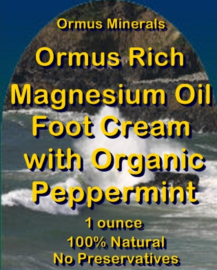 Ormus Minerals -Ormus Rich Magnesium Oil Foot Cream with Organic Peppermint